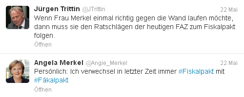 Trittin und Merkel twittern